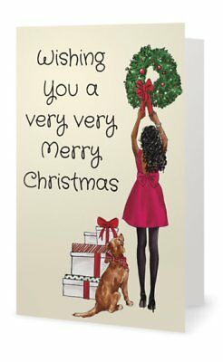 African American Girl Christmas Tree Greeting Cards (Pack of 10)