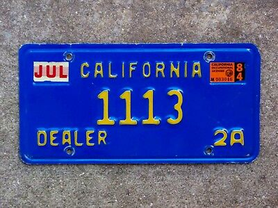 1984 California Dealer License Plate 1113 2A Exc Cond Blue 1970 Base Natural