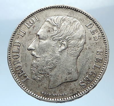 1873 BELGIUM Antique Silver 5 Francs Coin of King LEOPOLD II w LION i73975