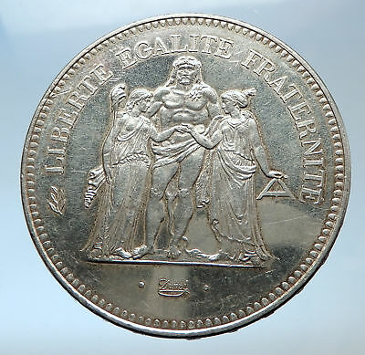 1978 FRANCE Large 50 FRANCS Authentic French Silver Coin w HERCULES Motto i73981