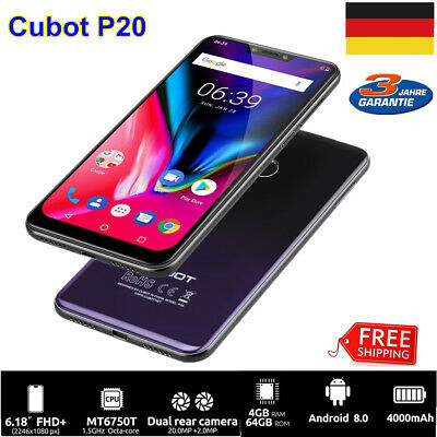 4GB+64GB CUBOT P20 FHD IPS Android 8 4G Smartphone Octa Core Handy Ohne Vertrag