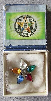 Order of the Eastern Star Masonic Rhinestone Pin with Box ~CM629