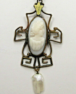 Antique Victorian ART DECO Nouveau GLASS SHELL CAMEO Woman PENDANT NECKLACE