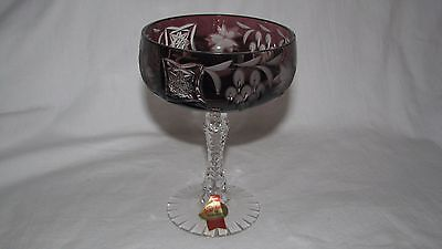CUT TO CLEAR vintage crystal GERMANY dark red ruby GOBLET champagne ANNAHUT