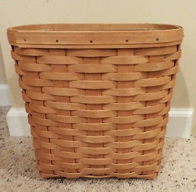 Longaberger 2005 Small Oval Waste Basket With Protector Euc