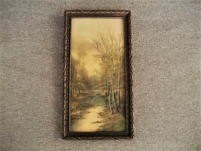 Vintage Ornate Wood Framed Scenic Picture Wall Hanging