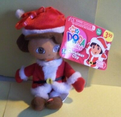 Dora The Explorer Small Plush - Dressed In a Santa Suit w/Back Pack Clip - NWT