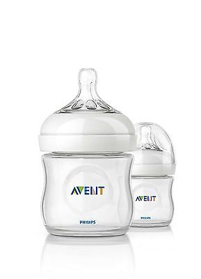 Lot of (2) Philips Avent Natural baby bottles - 4oz/125ml