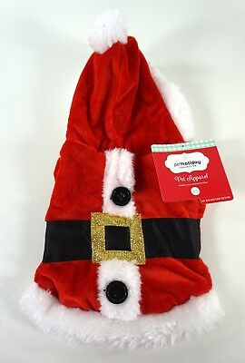 New Pet Holiday Christmas Santa Hooded Jacket Dog Costume - Size Xtra Small XS
