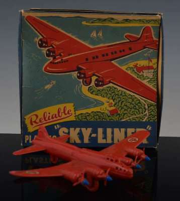Vintage Rare Canadian RELIABLE PLASTIC TOYS RED TCA SKYLINER AIRPLANE Plane NR
