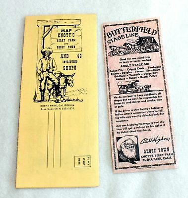 1960s Knotts Berry Farm & Ghost Town Map Postcard & Stage Line Ticket