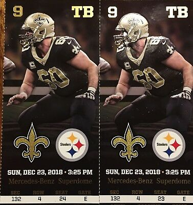 Pittsburg Steelers vs New Orleans Saints 2-Tickets SEC 132 ROW 4 Side by Side
