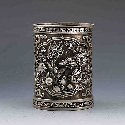 Exquisite CHINESE MIAO SILVER copper HANDWORK CARVED DRAGON BRUSH POT