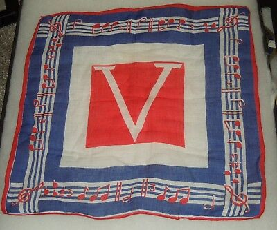 WWII US Military V FOR VICTORY Music Home Front Banner Handkerdchief