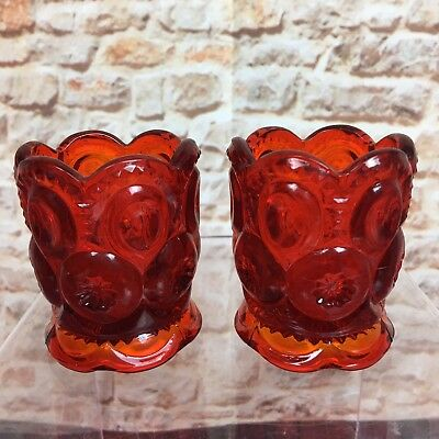 LE Smith Red Glass Moon & Stars Footed Toothpick Holders Vintage Set of 2