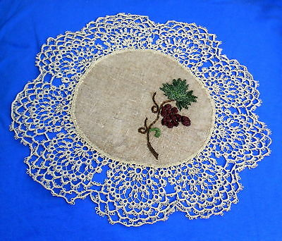Antique  Tatted Lace Embroidered  Doily
