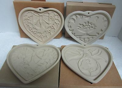 Pampered Chef Autumn Wreath Heart Stoneware Mold Lot of 4 Limited Edition++