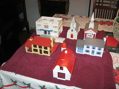 Lot Of Six Assembled Plasticville Assembled Buidings Nice Condition...low Bid Nr