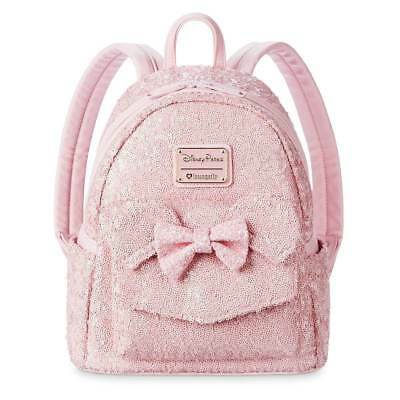 Disney Parks Loungefly Millennial Pink Sequin Mini Backpack Purse Bag WDW Bow