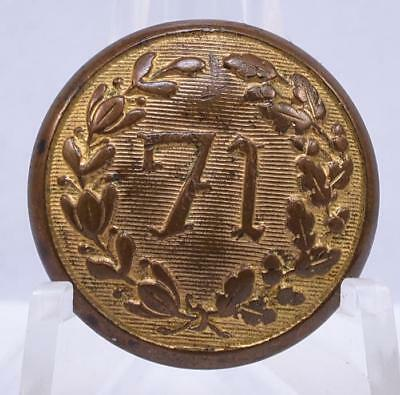 Civil War New York 71st Militia Regiment Brass Coat Button Scovill Waterbury CT