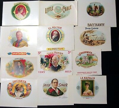 Lot of 12 Cigar Labels Mint Never Used - Dealers Lot