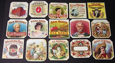 Lot of 15 Outer Cigar Labels Mint Never Used - Dealers Lot