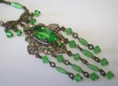 AMAZING Antique Victorian Silver Tone Green Glass Bead Pendant Necklace