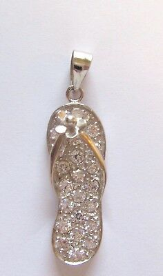 Sterling Silver Flip Flop Pendant -clear crystals-  flower on strap