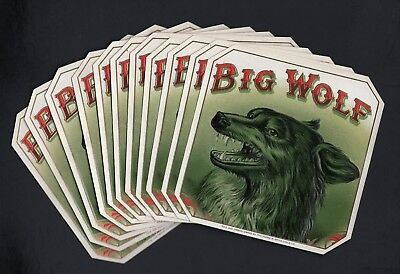 Lot of 11 BIG WOLF Outer Cigar Labels - MINT!