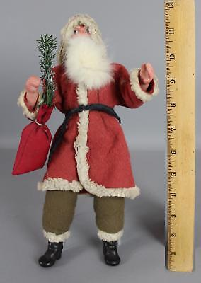 Antique 10.5in German Painted Composition & Felt Christmas Santa Claus Doll, NR