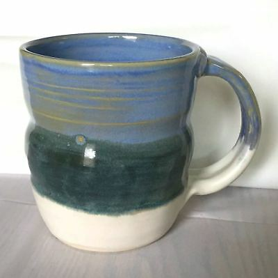 Hand Made Stoneware Pottery Mug Cup Blue Teal White Thrown Coffee Cocoa