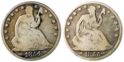 Pair of Seated Liberty Half Dollars - 50c Silver - 1854-O Arrows & 1855-O Arrows