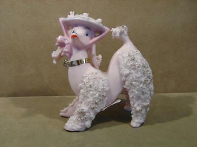 Vintage Pink Spaghetti Poodle With Hat Figurine