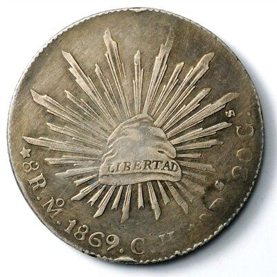 1869-Mo CHMexico 8 Reales - KM#377.10 - Large .903 Silver Coin