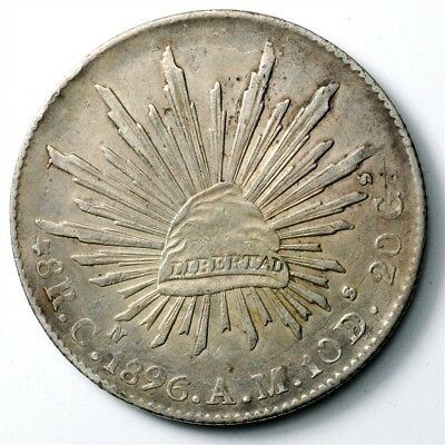 1896-CN AM Mexico 8 Reales - KM#377.3 - Large .903 Silver Coin