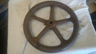Vintage Cast Iron Machine Pulley- Handle Industrial Steampunk 12""
