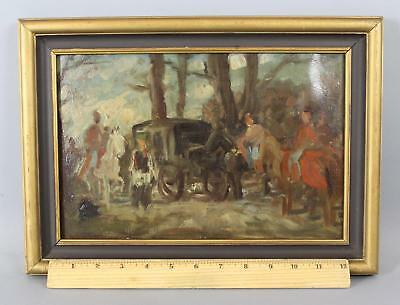 Small Antique American Impressionist Horse-Drawn Carriage & Figures Oil Painting