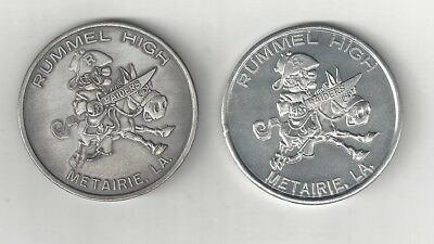 2 Vintage Rummel Raiders High School Metairie Louisiana Doubloon Coins Tokens