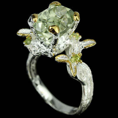 Natural Aaa Green Amethyst 13X10 Mm. & Peridot Sterling 925 Silver Ring Size 8