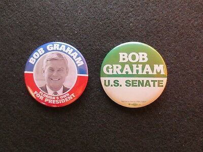 Celluloid Pinbacks for Bob Graham for US Senate from Florida & Presidential Cand