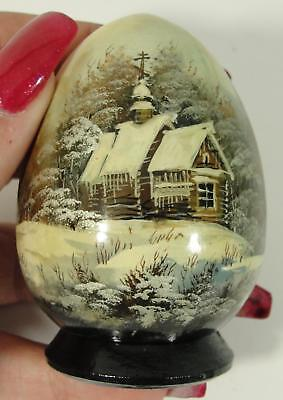 Small Antique Artist Signed, Hand Painted Russian Lacquer Egg Shaped Box, NR