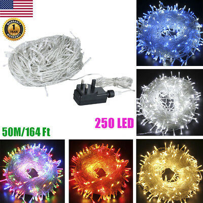 164FT/50M Copper Wire 250 LED String Light Waterproof Fairy Xmas Lamp Lighting