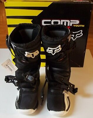 BRAND NEW Fox Racing YOUTH COMP 5Y MX Motocross Dirtbike Boots BLACK/WHITE