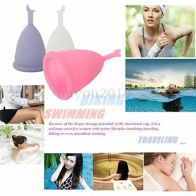 Medical Silicone Menstrual Cup Reusable Lady Soft Cup Size Small Large New