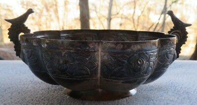 Sanborn Sterling Silver Aztec Rose Embossed Bird Handled Bowl Mexico 209 g