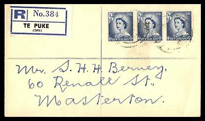 Te Puke New Zealand Registered Cover With Strip Of 3 To Masterton