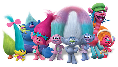 """Trolls Characters Iron On Transfer 4""""x7.25"""" for LIGHT Colored Fabric"""