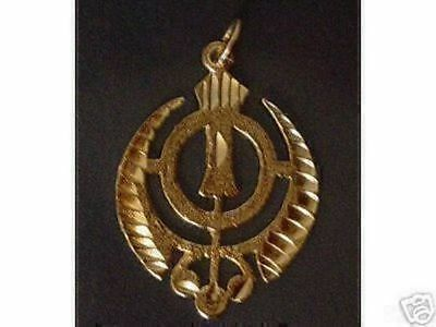 LOOK Sikh Khanda Sword Silver Charm Pendant 24kt Gold Plated Jewelry New