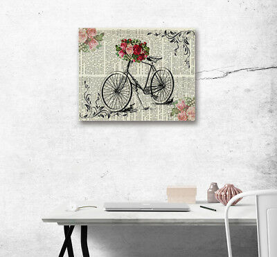Retro Bicycle Flower Abstract Art Poster Print Canvas Paint Art Home Wall Decor