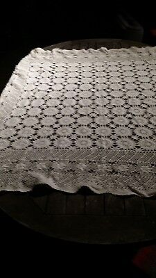 Vintage Taupe Coloured Rectangular Crochet Tablecloth